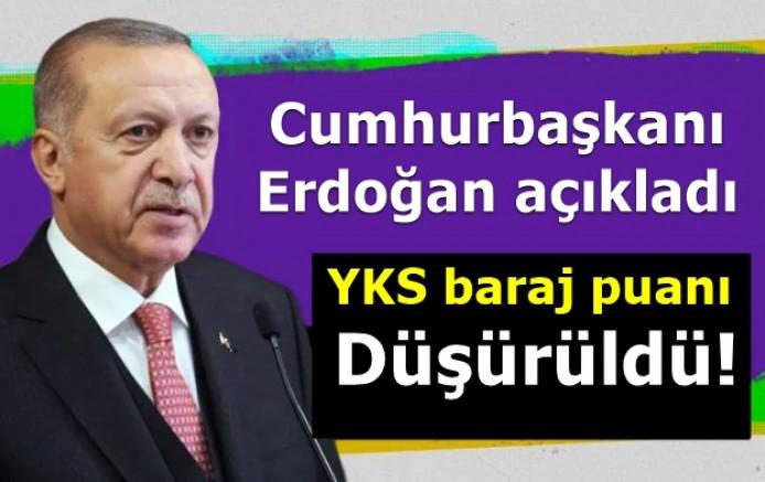 Cumhurbaşkanı Erdoğan, açıkladı. YKS baraj puanı düşürüldü