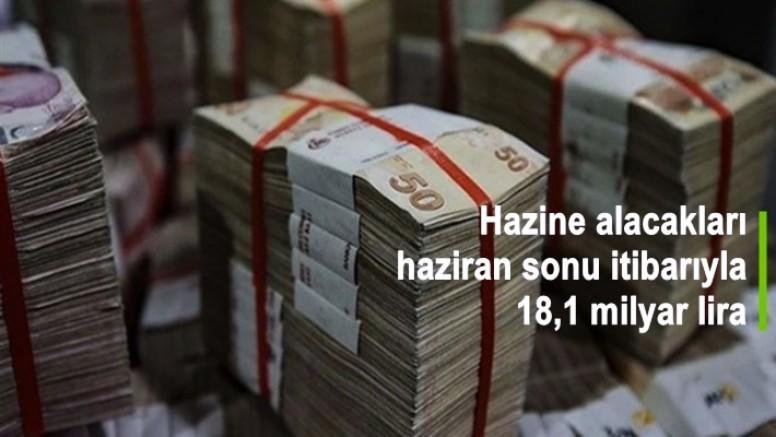 Hazine alacakları haziran sonu itibarıyla 18,1 milyar lira