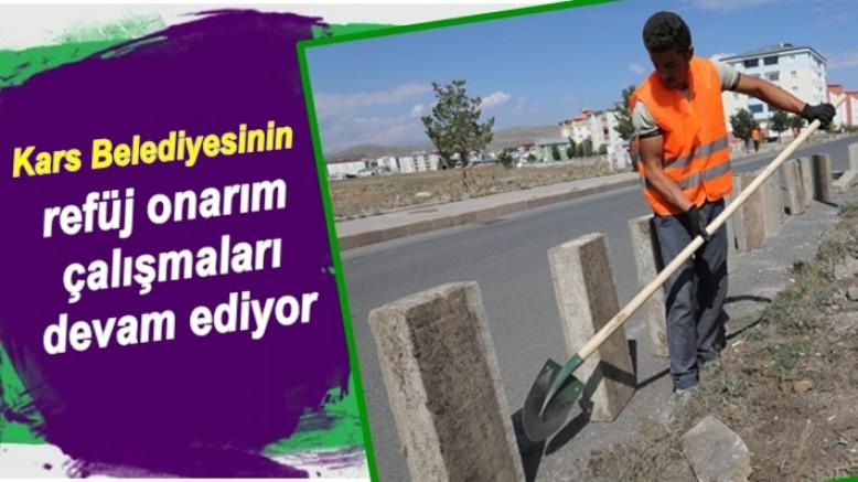 Kars Belediyesinin refüj onarım çalışmaları devam ediyor