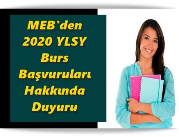 MEB'den 2020 YLSY Burs Başvuruları Hakkında Duyuru