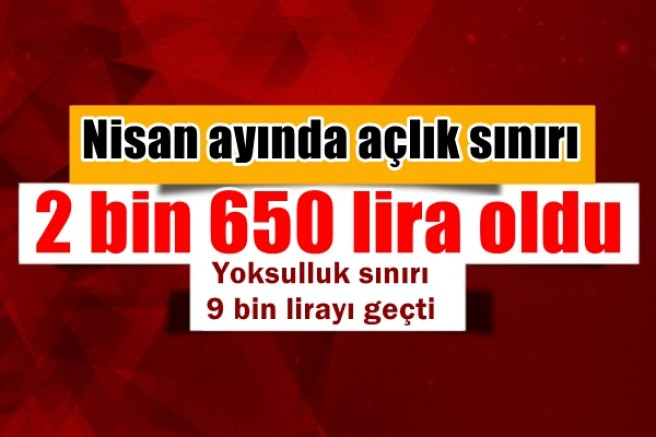 Nisan ayında açlık sınırı 2 bin 650 lira oldu