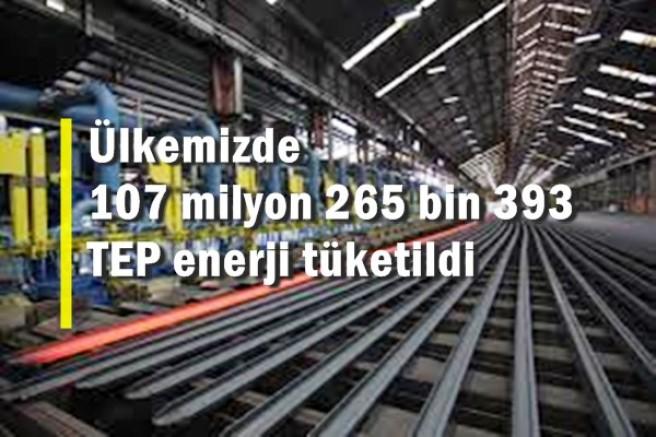 Sanayi sektörlerinde 107 milyon 265 bin TEP enerji tüketildi
