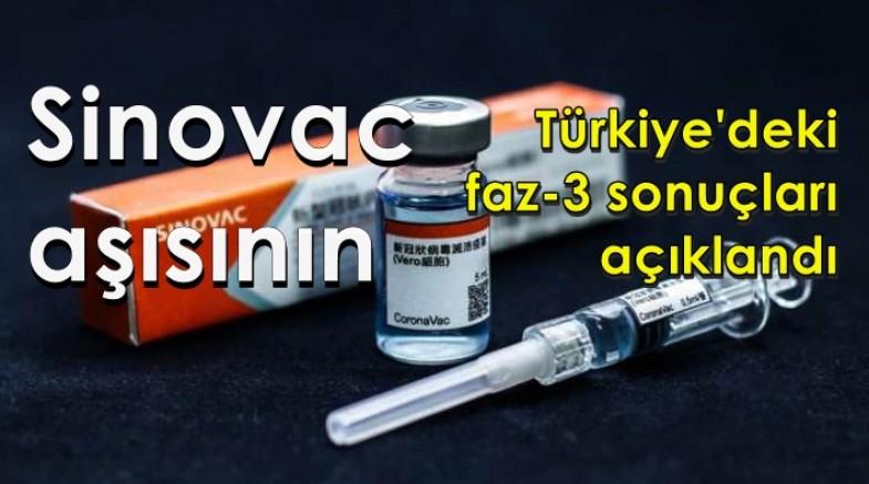 Sinovac aşısının Türkiye'deki faz-3 sonuçları açıklandı