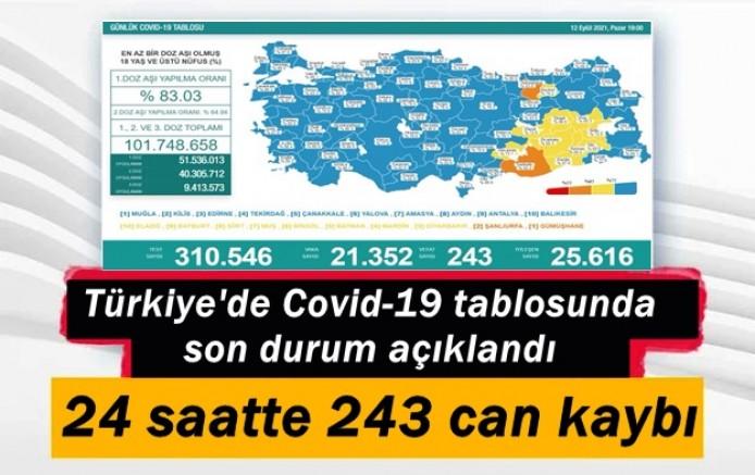 Türkiye'de Covid-19 tablosu: Son 24 saatte 243 can kaybı