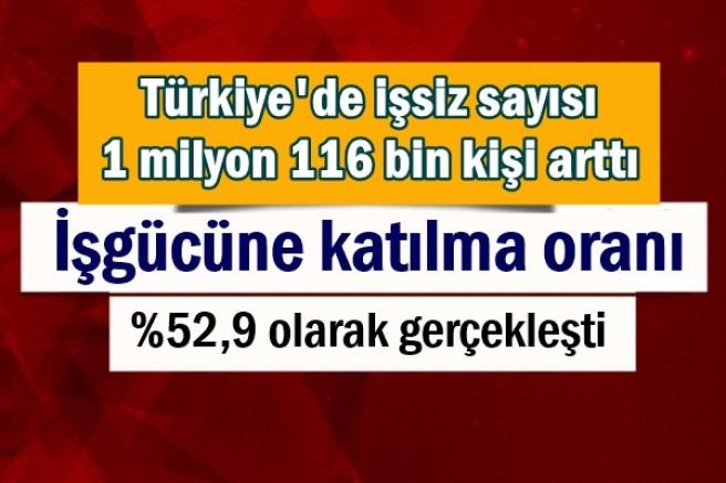 Türkiye'de işsiz sayısı 1 milyon 116 bin kişi arttı